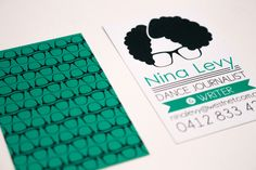 Personal logo design for Nina Levy. Glorious curls and glasses make Nina stand out in any crowd. Put them on paper and her personal logo was born.