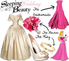 A fashion look from February 2012 featuring platform bridal shoes, wedding rings and pink evening gowns. Browse and shop related looks. Disney Inspired Wedding, Disney Wedding Dresses, Disney Inspired Fashion, Disney Dresses, Disney Weddings, Disney Clothes, Disney Fashion, Disney Bound Outfits, Princess Outfits