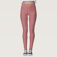 Pink Gray Greek Key Geometric Pattern Pretty & Elegant Leggings