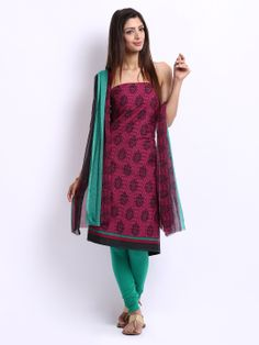 Anouk Magenta & Green Printed Crepe Unstitched Dress Material