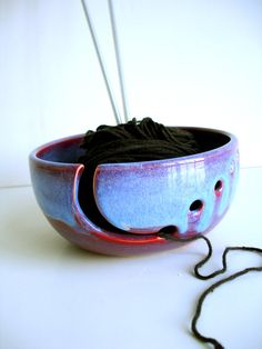 Purple Blue Ceramic Wheel Thrown Yarn Bowl  MADE by NewMoonStudio, $32.00