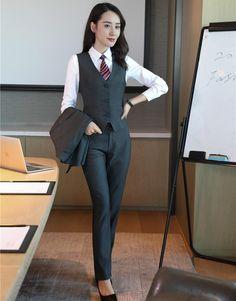 Formal Women Vest & Waistcoat Grey 2 Piece Pant and Top Sets Ladies Office Uniform Designs Pantsuits OL Styles
