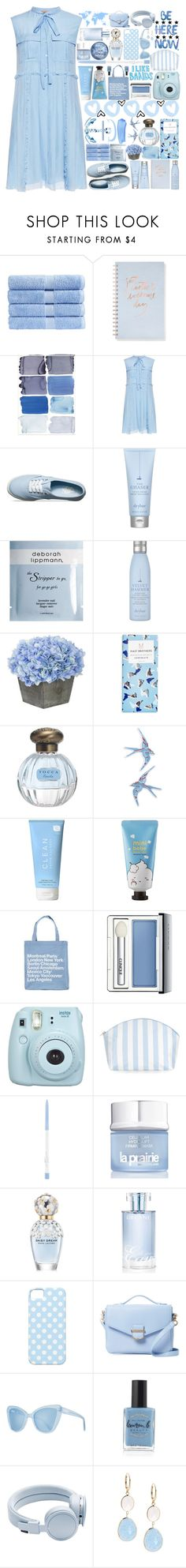 """""""pleated blue"""" by gately ❤ liked on Polyvore featuring Christy, Fringe, N°21, Vans, Drybar, Deborah Lippmann, Topshop, CLEAN, Sephora Collection and TheLeesW"""