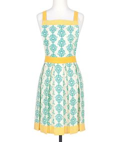 Fete Green & Yellow Brigitta Apron - You're sure to be the host with the most in this lightweight cotton apron, styled with soft pleats and an elegant damask pattern. Its adjustable D-ring neck tie and waist straps ensure an optimal fit.