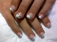 White with silver and black