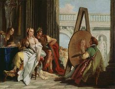 """Alexander the Great and Campaspe by Giovanni Battista Tiepolo - Rococo 18th C. - Campaspe was a mistress of Alexander the Great and a prominent citizen of Larissa. She was painted by Apelles, who had the reputation in Antiquity for being the greatest of painters. The episode occasioned an apocryphal exchange that was reported in Pliny's Natural History: """"Seeing the beauty of the nude portrait, Alexander saw that the artist appreciated Campaspe (and loved her) more than he. And so Alexander…"""