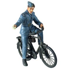 RAF Ground Aircraftsman on Bike Figure  Airpower was an important factor in World War II and the Royal Air Force was instrumental in both defense of the home islands and carrying the war to Germany. This richly detailed, hand-painted diecast metal piece by world-famous military figures manufacturer William Britain (est. 1893) acknowledges the contributions of all the men and women of the RAF throughout the conflict.  This RAF Ground Aircraftsman is on a bicycle and is holding a Leave Pass…