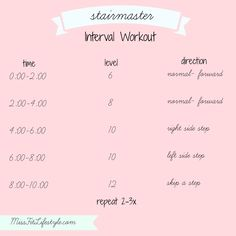 Stairmaster Interval Workout | Miss Fit Lifestyle: Fitness ... #cardioworkoutmachines