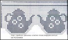 PATRONES - CROCHET - GANCHILLO - GRAFICOS Filet Crochet Charts, Crochet Borders, Crochet Diagram, Crochet Kitchen, Crochet Home, Knit Crochet, Crochet Trim, Crochet Curtains, Crochet Doilies