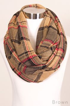Brown Plaid Infinity Scarf – URBAN MAX LLC