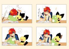 Pichu and Roy Anime Nerd, Anime Manga, Anime Guys, Roy Fire Emblem, Slice Of Life Anime, Super Smash Bros Memes, Nintendo Pokemon, Another Anime, Cutest Thing Ever