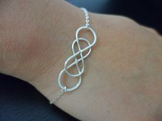 15%SALE -  Sterling Silver Double Infinity Bracelet - Best Friend Gift, Bridesmaid Gift, Mother's Gift, Sister's Gift, Birthday Gift