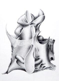 """""""Gestación"""" - Heriberto Zorrilla - Lápiz sobre papel- 30 x 23 cm – 1980 - www.esencialismo.com"""