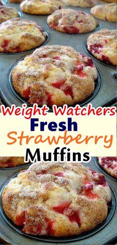Weight Watchers Strawberry Muffins – BEST WW Recipe – Breakfast – Treat – Snack with Smart Points Ww Desserts, Delicious Desserts, Dessert Recipes, Yummy Food, Weight Watchers Diet, Weight Watchers Desserts, Skinny Recipes, Ww Recipes, Family Recipes