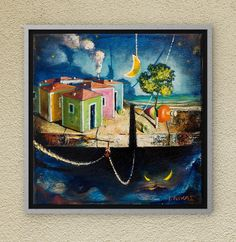 It is the city of Dreamland with its colorful houses: Freedom! Oil on canvas. Painting Canvas, Oil On Canvas, Canvas Wall Art, Colorful Houses, Art Oil, Night Skies, House Colors, Childhood Memories, Fairytale