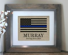 Thin Blue Line Flag Personalized Police Officer Gift or Policeman Retirement Gift by EmmaAndTheBean Police Officer Gifts, Police Gifts, Firefighter Gifts, Thin Blue Line Flag, Thin Blue Lines, Sheriff, Burlap Signs, Wood Signs, Original Design