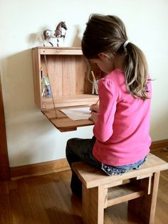 Kid's Fold Down Desk For Homeschool, Bedroom, Or Classroom Built From Reclaimed…