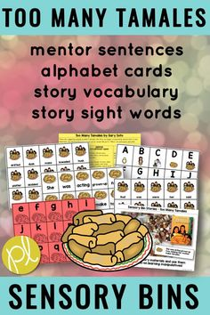 Explore the book Too Many Tamales by Gary Soto with this sensory bin activity! Add the task cards and create a center literacy center or student can explore in small groups! Added extras include sorting mats, character cut-outs, and easy-prep math tasks! From Positively Learning #sensorybins #autism #toomanytamales #literacycenters #taskcards