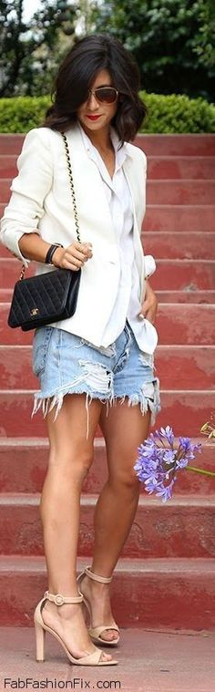 Style Watch: 50 summer street style inspirations with denim shorts   Fab Fashion Fix