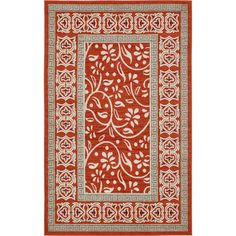 Unique Transitional Abstract Rust Red Indoor/Outdoor Area Rug (5' x 8') (Rust Red - 5 feet x 8 feet), Size 5' x 8'