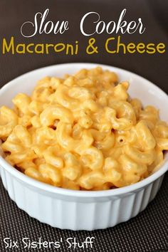 Slow Cooker Macaroni and Cheese on SixSistersStuff.com. My kids' favorite version of mac and cheese - it's so creamy and delicious!