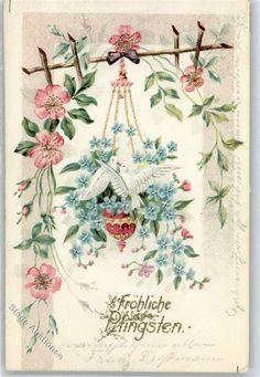 1903 Prägedruck Pfingsten Taube Vergissmeinnicht: Ansichtskarten-Center Onlineshop