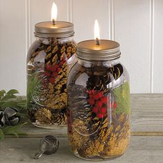 Winter Forest Mason Jar Oil Candles-same idea as mason jar candle, but with pretty stuff inside