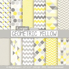 "Geometric digital paper: ""GEOMETRIC YELLOW"" digital paper pack with yellow gray geometric patterns and yellow gray digital paper backgrounds Textile Patterns, Print Patterns, Geometric Patterns, Paper Background, Background Patterns, Digital Scrapbook Paper, Printable Paper, Pattern Paper, Paper Design"