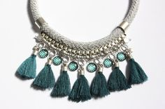 COSCUEZ grey and teal statement necklace with silver details