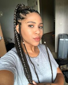 24 Inches length Jumbo Box Braids Kanekalon single color Braiding Xpression Hair, single color, 32 colors optional, As shown in the picture. African Braids Hairstyles, Braided Hairstyles, 100 Kanekalon Hair, Xpression Hair, Jumbo Box Braids, Braided Ponytail, Hair Styles, Model, Color