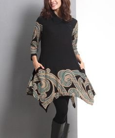 Another great find on #zulily! Black & Teal Cloud Side-Button Handkerchief Tunic #zulilyfinds
