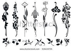 New Ideas Art Nouveau Pattern Vector Flower Art Nouveau Tattoo, Tatuagem Art Nouveau, Motifs Art Nouveau, Design Art Nouveau, Art Nouveau Pattern, Flores Art Nouveau, Et Tattoo, Sketch Tattoo, Illustration Art Nouveau