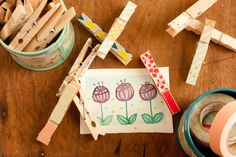 Make your clothes pins cuter. | 56 Adorable Ways To Decorate With Washi Tape
