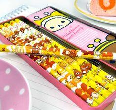 Stationery Set for Kids - Rilakkuma Meets Honey Tin Pencil Case and Wooden Pencil Set | CoolPencilCase.com