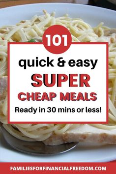 These are 100  great ideas for quick cheap meals on a budget! Cheap meals under $5! Find super easy and cheap meals for families or kids! Find cheap meals for dinner! 100  cheap dinner recipes! #dinner #easydinner #familydinner #cheapdinners #cheapmeals #meals #savemoney #money #family #save #frugal #budget #30minutemeals #mealprep #easymeals Super Cheap Meals, Quick Cheap Dinners, Easy Cheap Dinner Recipes, Cheap Family Meals, Cheap Recipes, Fast Dinners, Quick Meals, Easy Dinner Recipes, Frugal Meals