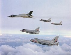 Vintage Aircrafts 1968 the merger of Fighter and Bomb Command into Strike Command. Lightnings escort to a Vulcan strategic V-bomber Bomber Plane, Jet Plane, Military Jets, Military Aircraft, Vickers Valiant, V Force, Avro Vulcan, Air Festival, Vintage Airplanes