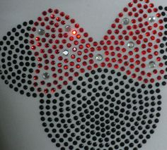"""6.5"""" red Minnie Mouse iron on rhinestone TRANSFER for Disney t-shirt"""