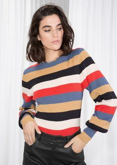 & Other Stories image 1 of Crewneck Sweater in Multi Stripe