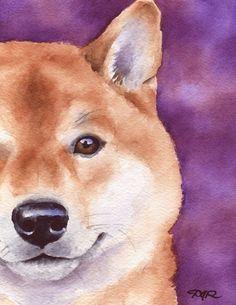 SHIBA INU Hund Aquarell signiert Fine Art Print von k9artgallery