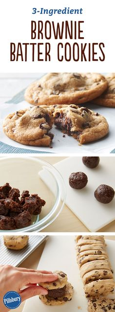 Somehow we found a way to make chocolate chip cookies even better by stuffing them with a super-tasty brownie batter filling! [3-Ingredient Brownie Batter Cookies]