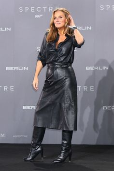 """fashion-boots: """" Kim Fisher at the James Bond 'Spectre' Premiere in Berlin """" Long Leather Coat, Black Leather Skirts, Leather Dresses, Leather Fashion, Fashion Boots, Fashion Outfits, Womens Fashion, Fashion Tips, Celebrity Boots"""