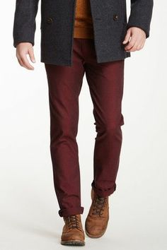 Love these.  They're straight leg instead of those god-awful skinny jeans.   Burgundy Men's Pants.