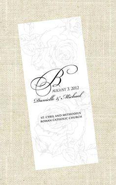 Tri-Fold - Printable Wedding Program. $45.00, via Etsy.