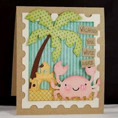 Create a Critter Cricut cartridge, beach card by Melyssa Connolly