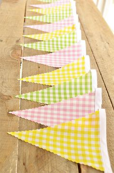 Gorgeous Gingham  - Vintage Bunting Banner - Free Shipping US and Canada