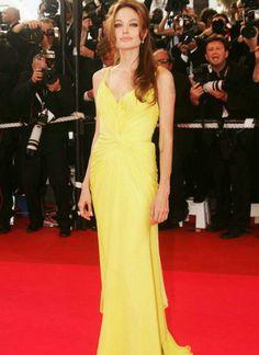 2013 Yellow Chiffon Prom Dress Long/celebrity Dress/women Formal Party Dress/evening Gowm/cocktail Dress-angelina Jolie On 10% Off Discount