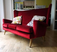 An exceptional Howard Keith 3 seater wing sofa. Retro vintage 50s atomic