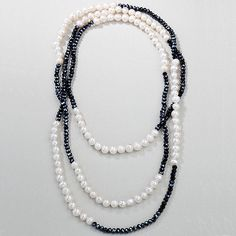 Midnight Crystal & Freshwater Pearl Necklace