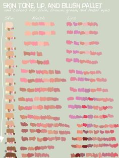 Skin, Blush, Lips Pallet by Renstability on DeviantArt Drawing Reference Poses, Drawing Tips, Drawing Tutorials, Art Tutorials, Skin Color Palette, Palette Art, Digital Painting Tutorials, Digital Art Tutorial, Color Palette Challenge
