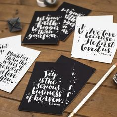 Set of 8 Faith Postcards Postcard Set Christian Prints He First Loved Us, Monochrome Color, Engagement Cards, Brush Lettering, Postcards, Christian Gifts, Color Schemes, Print Design, Gallery Wall